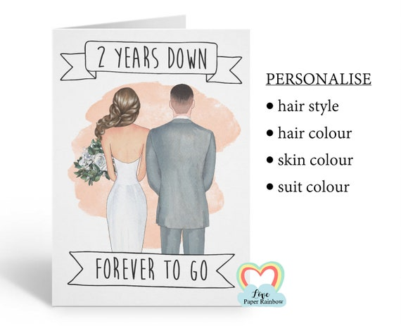 personalised 2nd wedding anniversary card, personalised anniversary card, 2 years down forever to go, personalised couples card, mr and mrs