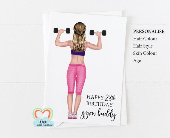 gym birthday card, gym buddy birthday card, personalised friend birthday card, fitness instructor, best friend birthday, personal trainer