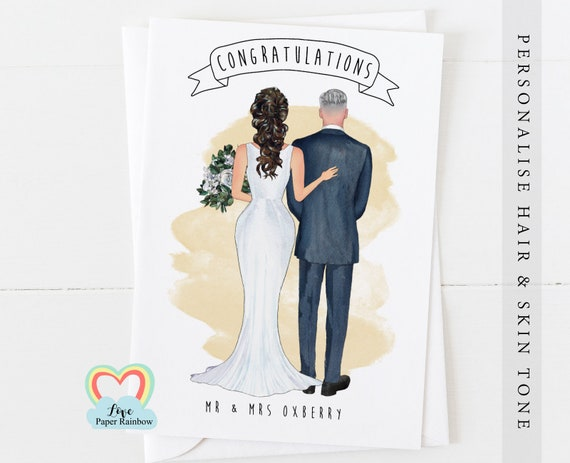 wedding card, bride and groom, mr and mrs congratulations, personalised wedding card, bride and groom portrait, wedding couple