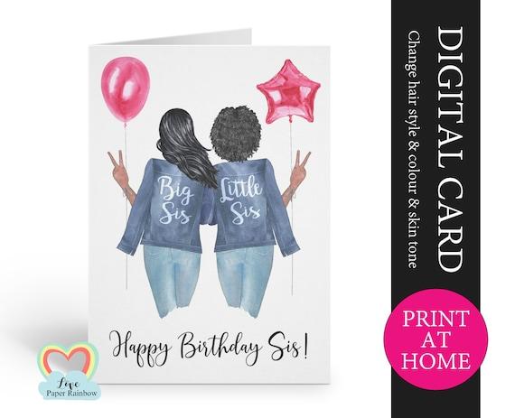 African american birthday card printable customizable sister birthday card big sister birthday little sister birthday digital pdf