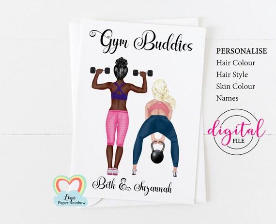 fitness trainer birthday card printable, personal trainer birthday card diy, gym buddy, gym buddy card digital, customizable birthday card