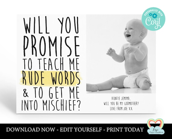 godmother card template editable godparents card instant download godfather card corjl funny godmother proposal printable funny rude words