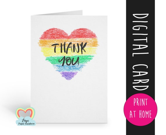 thank you nhs card printable nurse card instant download rainbow heart card digital thanks card doctor surgeon hospital