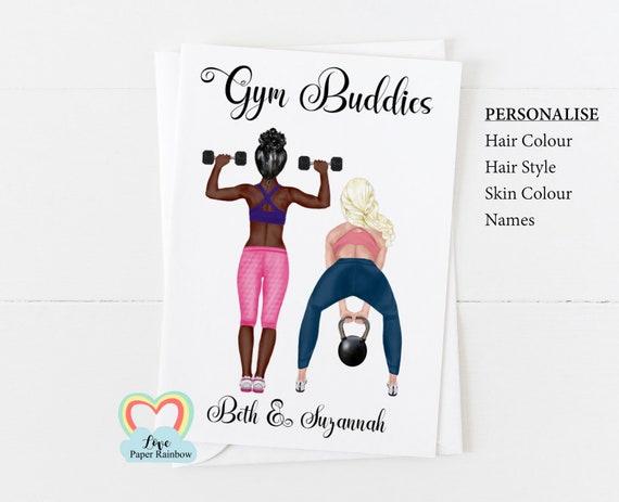 gym buddy birthday card, gym birthday card, gym instructor, best friend birthday card, personalised friend birthday card, fitness instructor