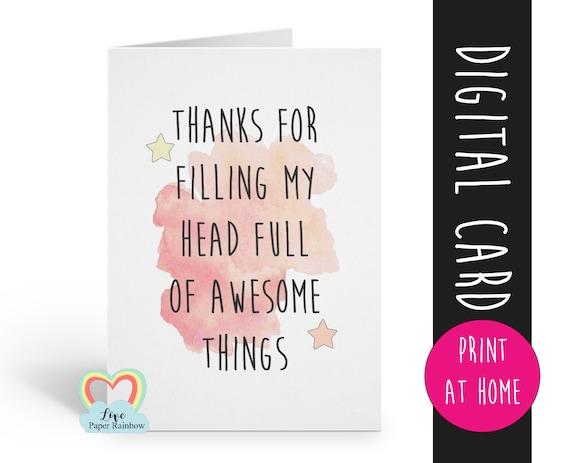 PRINTABLE teacher card, thanks teacher card, thank you teacher, teacher appreciation card, teaching assistant card, childminder