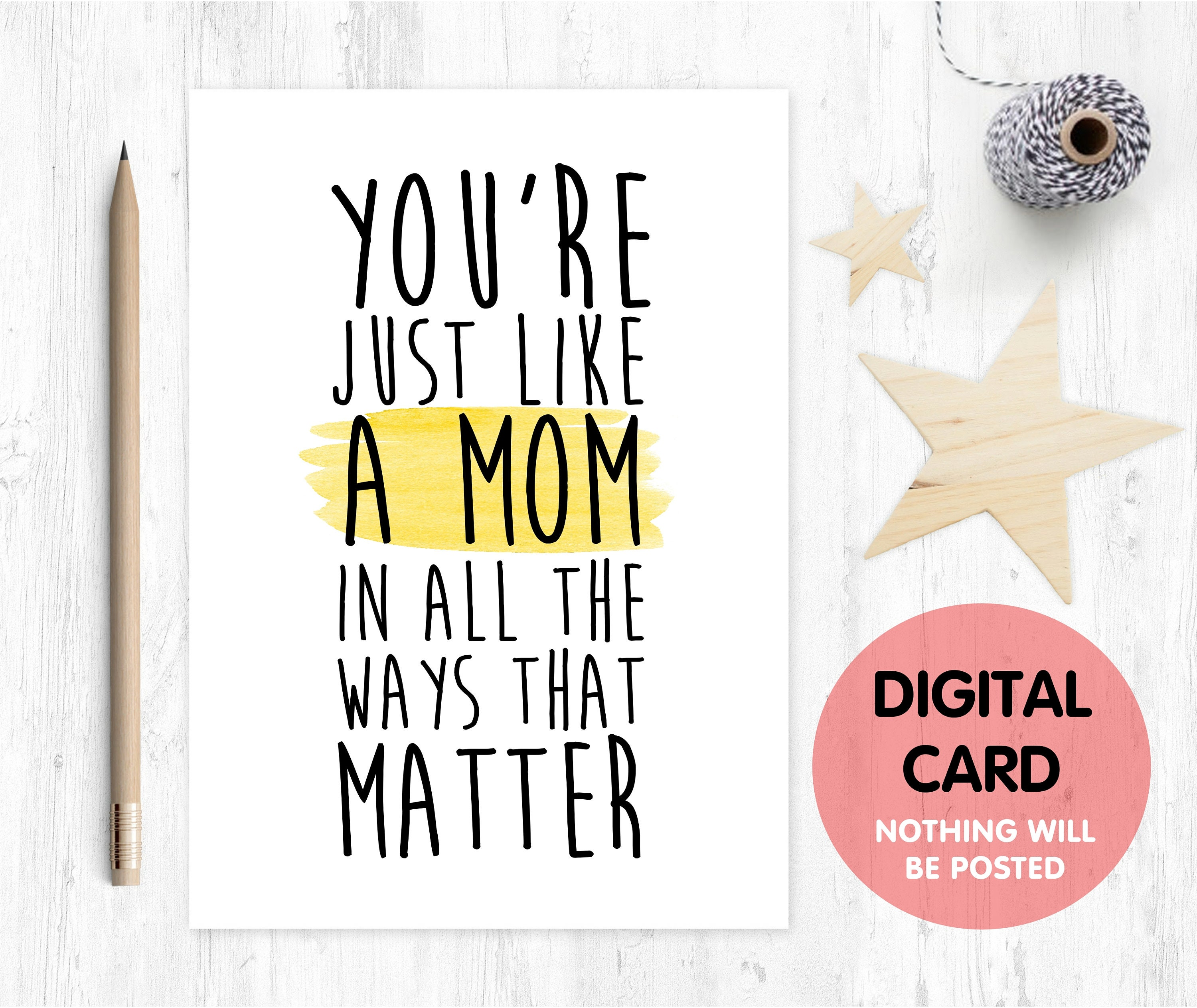 Stepmom Mothers Day Card Printable Birthday Thanks Digital Download