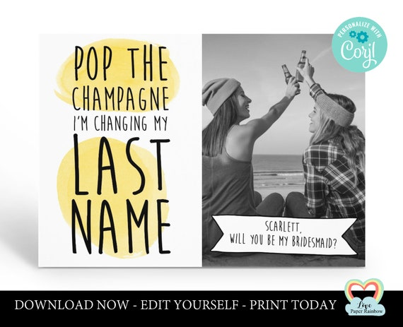 maid of honour card instant download pop the champagne bridesmaid proposal editable maid of honour card template corjl photo card