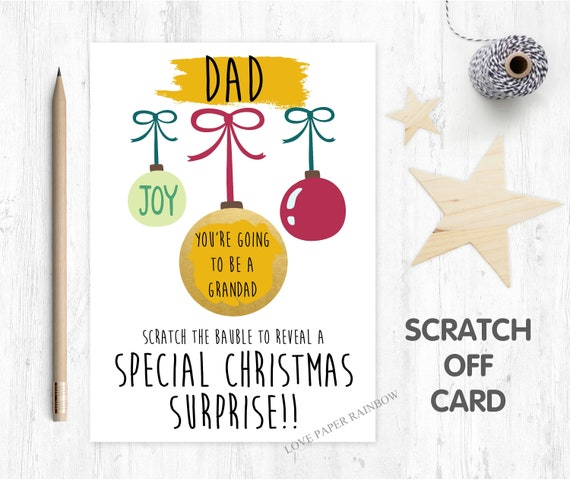 you're going to be a grandad christmas scratch card christmas surprise baby reveal christmas card scratch off christmas gift pregnancy