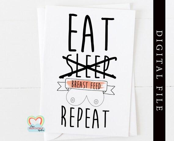 PRINTABLE breastfeeding card, diamond boobies, eat sleep breast feed repeat, amazing boobs, breastfeeding anniversary instant download