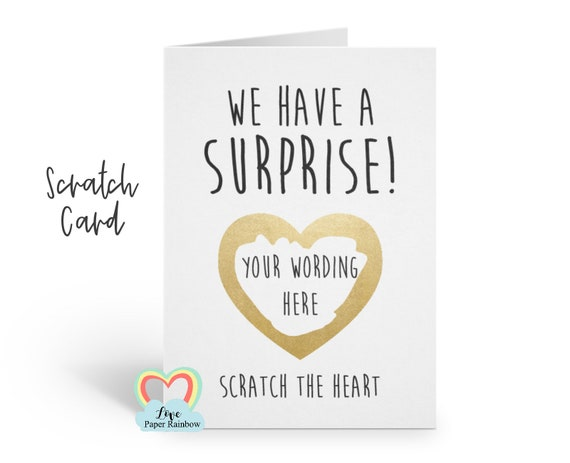 surprise card, surprise scratch card, we have a surprise card, pregnancy scratch card, birthday surprise card, I'm pregnant card,