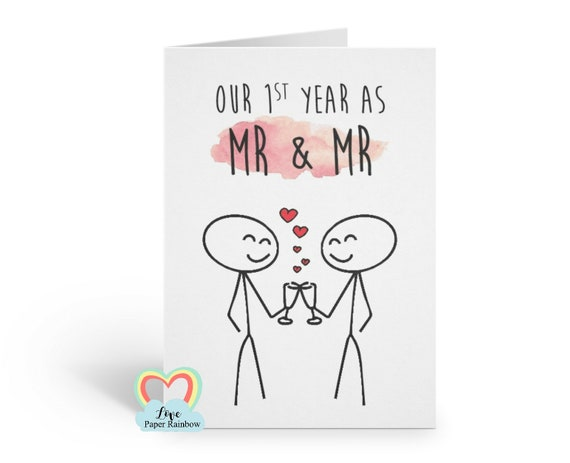 our first year as mr and mr, gay anniversary card, 1st anniversary card, 1st wedding anniversary card, first wedding anniversary card, gay