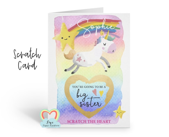 you're going to be a big sister card, big sister scratch card, big sister reveal, unicorn big sister card, pregnancy announcement