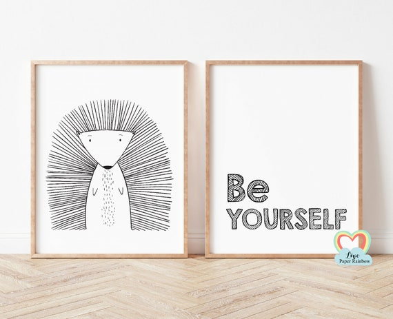 be yourself nursery print, porcupine nursery print, black and white nursery prints, nursery quote, baby boy gift, zoo theme nursery