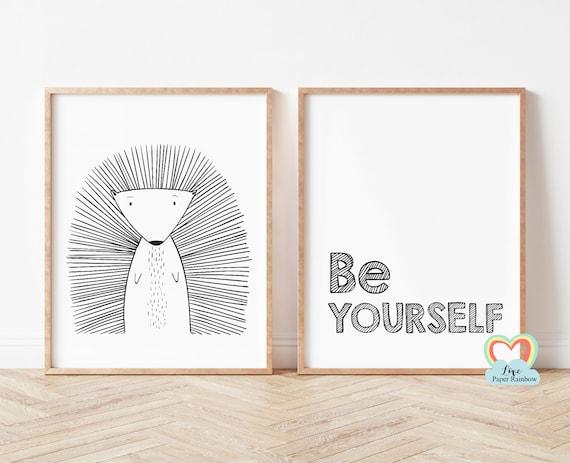 be yourself nursery print, porcupine nursery print, black and white nursery prints, nursery quote, baby boy gift, zoo theme nursery