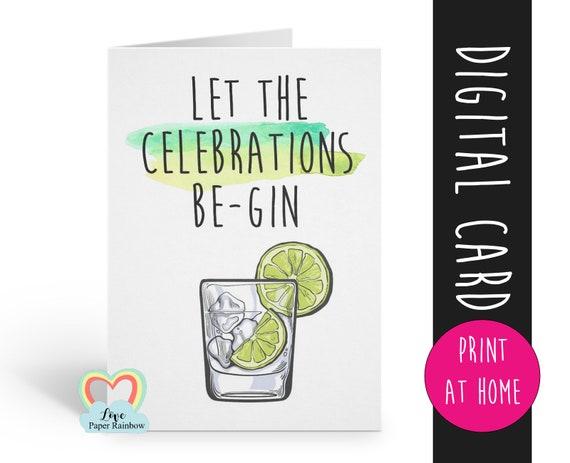 printable birthday card, gin birthday card printable, funny birthday card, pun birthday card, gin and tonic, alcohol birthday card,