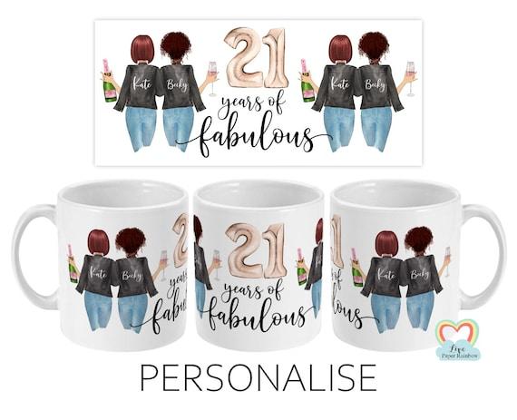 best friend 21st birthday mug, besties mug, 21 years of fabulous, mugs for best friend, sister 21st birthday, custom 21st birthday gift