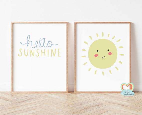 hello sunshine, nursery print, sun prints, nursery weather print, new baby gift, pastel nursery print, nursery prints for girls, neutral