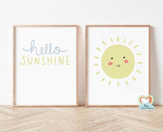 hello sunshine, nursery print, sun prints, nursery weather print, new baby gift, pastel nursery print, nursery prints for girls, neutral