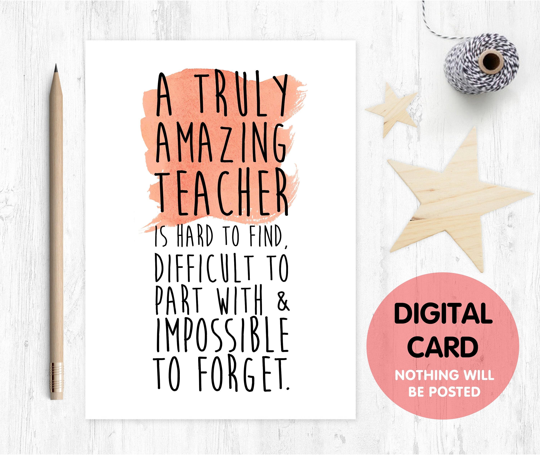 teacher card printable teacher retirement card instant download