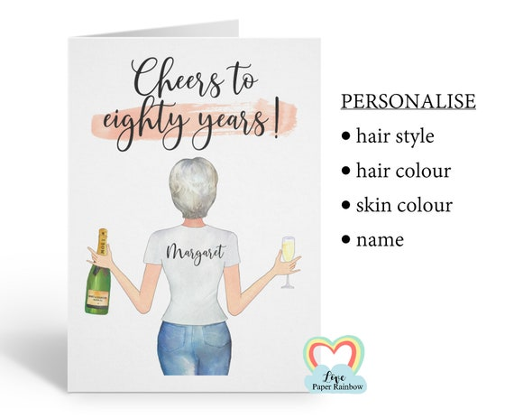 friend 80th birthday card, personalised 80th birthday card, cheers to 80 years, best friend 80th, love paper rainbow