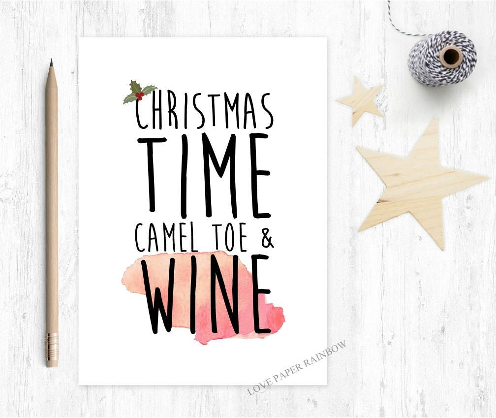 rude christmas card christmas time camel toe and wine funny | Etsy