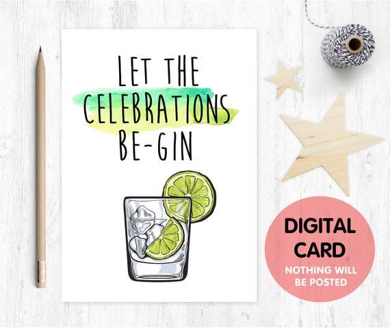 printable birthday card, gin birthday card printable, funny birthday card, pun birthday card, gin and tonic, alcohol birthday card,