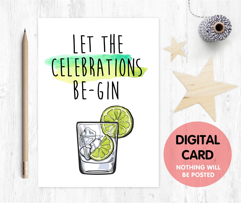 Printable Birthday Card Gin Funny Pun And Tonic Alcohol