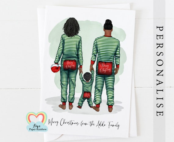 pajama family christmas card, personalised christmas card, family christmas card, family of 3 Christmas card, parents and child christmas
