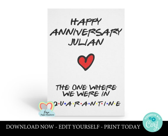 quarantine anniversary card, quarantine anniversary card printable, friends tv anniversary card, social distancing, social distance