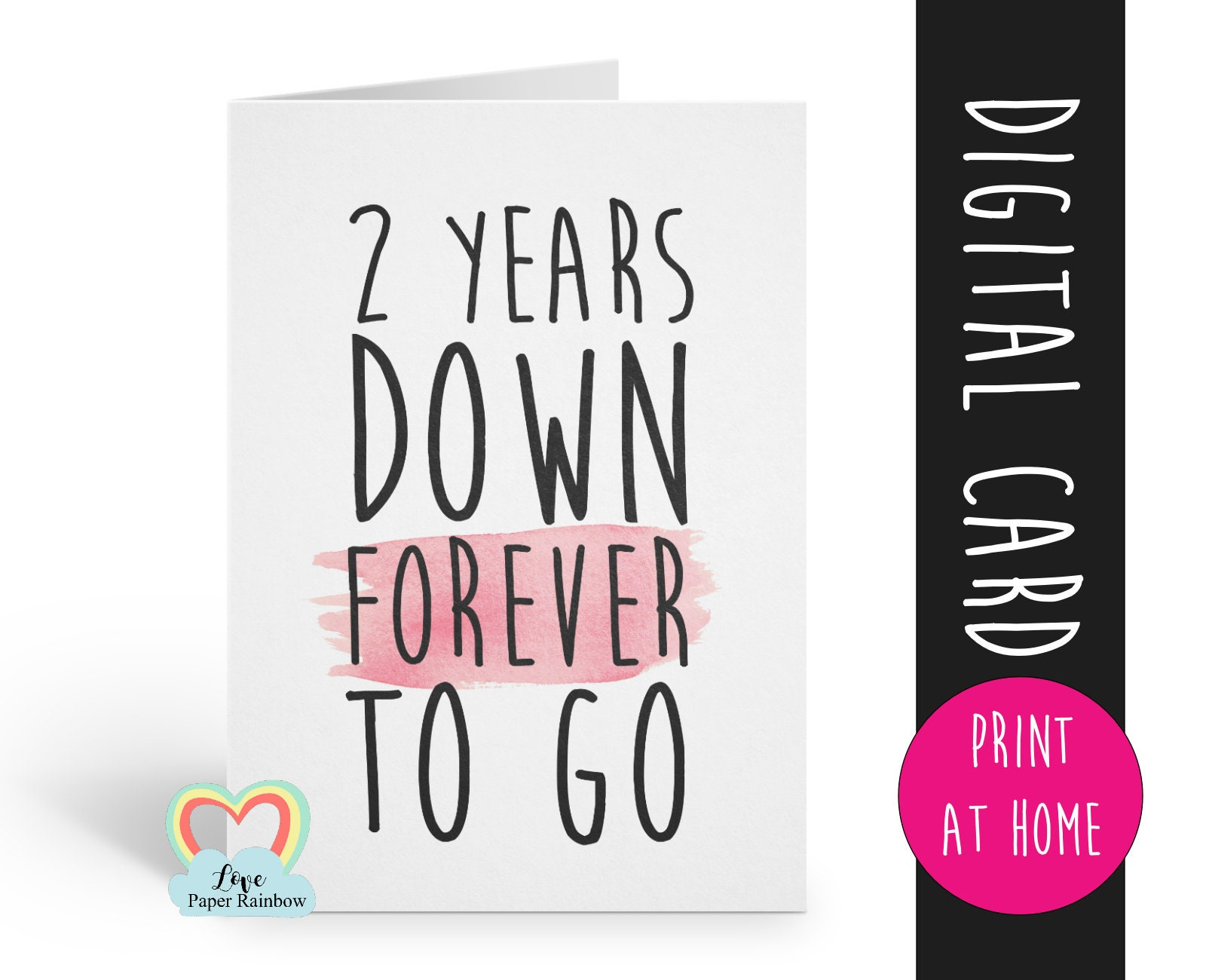 image regarding Anniversary Card Printable identify PRINTABLE 2nd anniversary card, 2nd wedding day anniversary