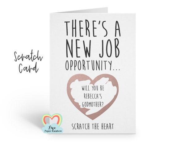 funny godmother card, godmother scratch card, godfather scratch card, job opportunity, will you be my godparents, rude godmother card