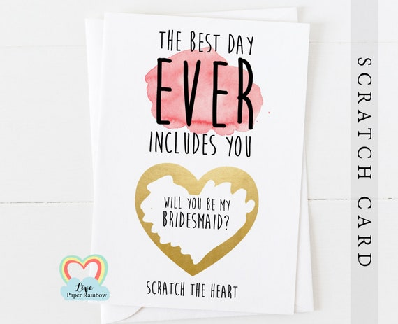 will you be my bridesmaid scratch card, will you be my maid of honour scratch card, the best day ever includes you, flower girl card