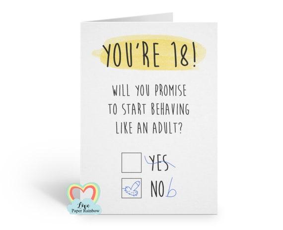 18th birthday card, funny 18th birthday card, rude 18th birthday card, adult 18th birthday card, you're 18, start acting like an adult
