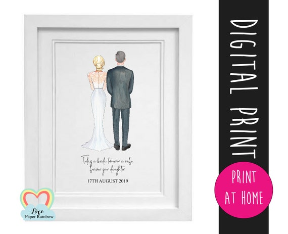 father of the bride gift printable father of the bride print thank you father's day download today a bride tomorrow a wife portrait creator
