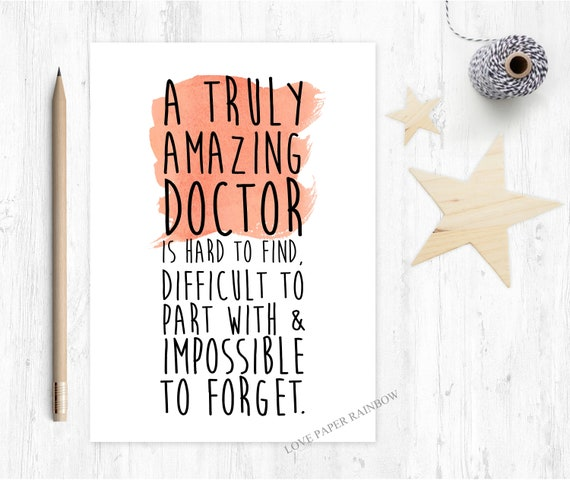 doctor card doctor retirement card leaving thanks doctor quote card a truly amazing doctor is hard to find doctor gift
