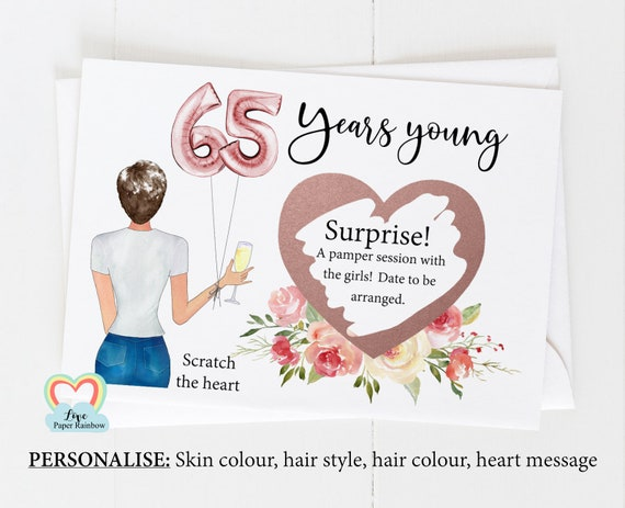 65th surprise card, personalised 65th birthday card, girl 65th birthday card, 65th birthday scratch card, scratch and reveal card,