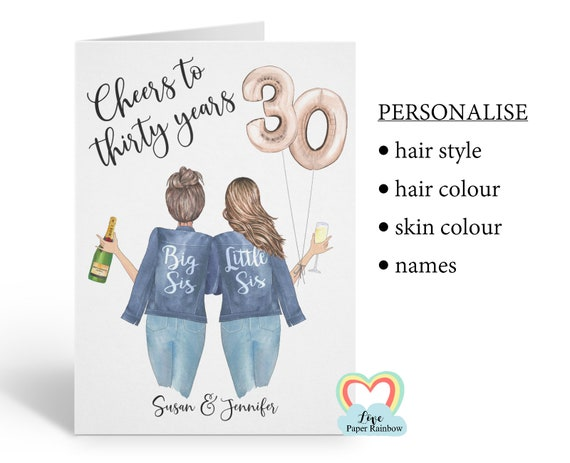 sister 30th birthday card, personalised 30th birthday card, cheers to 30 years, personalised sister birthday card, little sister birthday