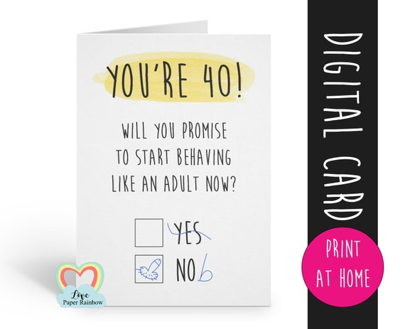 PRINTABLE 40th birthday card digital download funny 40th birthday card instant download rude 40th birthday card printable grow up