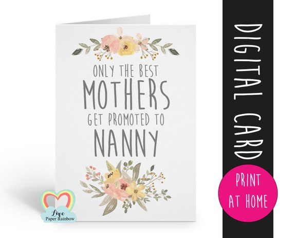 PRINTABLE pregnancy announcement you're going to be a nanny only the best mums get promoted to nanny love paper rainbow i'm pregnant