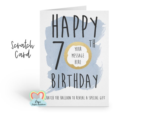 70TH BIRTHDAY surprise card | 70th birthday gift | scratch and reveal 70th birthday gift | 70th birthday card | 70th birthday scratch card