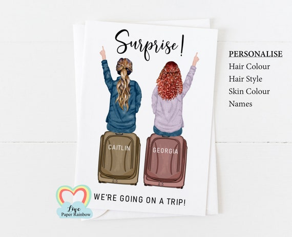 surprise trip, girl's holiday, girlie trip, personalised card, personalised birthday card, girlie trip card, girl's holiday card
