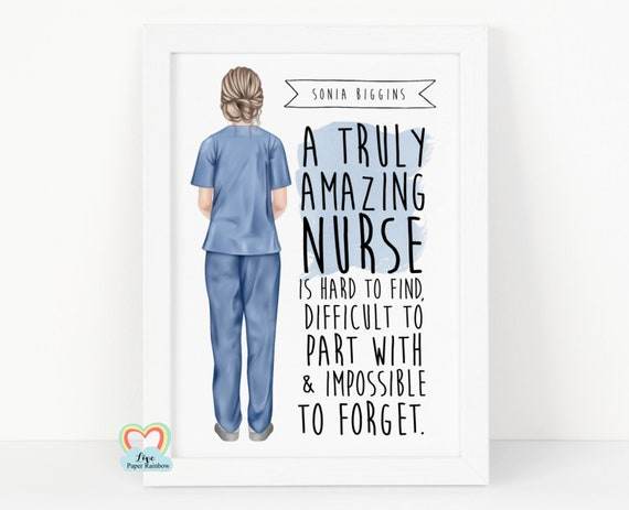 nurse retirement gift, nurse print, personalised nurse print, nurse thanks gift, nurse birthday gift, a truly amazing nurse is hard to find