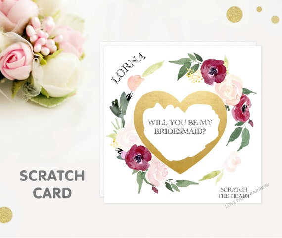 will you be my bridesmaid scratch card, will you be my maid of honour scratch card, chief bridesmaid, witness, floral bridesmaid card