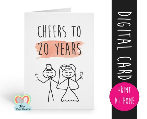 20th anniversary card printable cheers to 20 years instant download anniversary card 20 years together digital card printable 20 anniversary