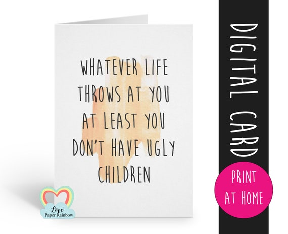 funny mother's day card printable mother's day card printable father's day card printable mom birthday card printable dad birthday card