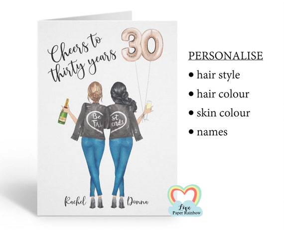 best friend 30th birthday card, personalised 30th birthday card, cheers to 30 years, personalised best friend birthday card, portrait card