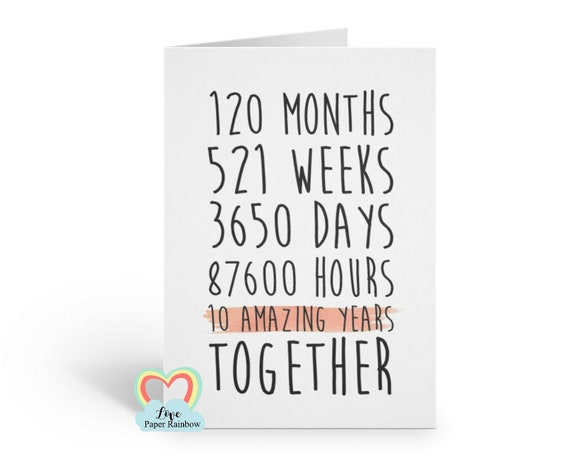 10th anniversary card, 10th wedding anniversary card, 10 years together, 10 amazing years, valentines card, gay anniversary card,