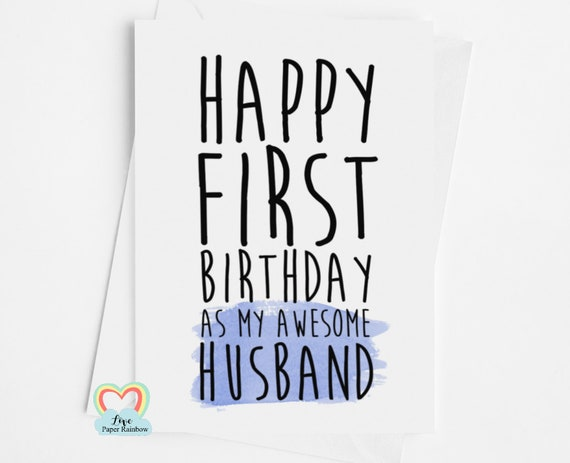 husband birthday card | 1st birthday as my husband | happy first birthday | funny birthday card | love paper rainbow