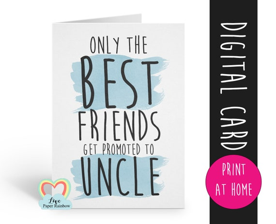 PRINTABLE you're going to be an uncle card i'm pregnant uncle reveal pregnancy announcement printable the best friends are promoted to uncle