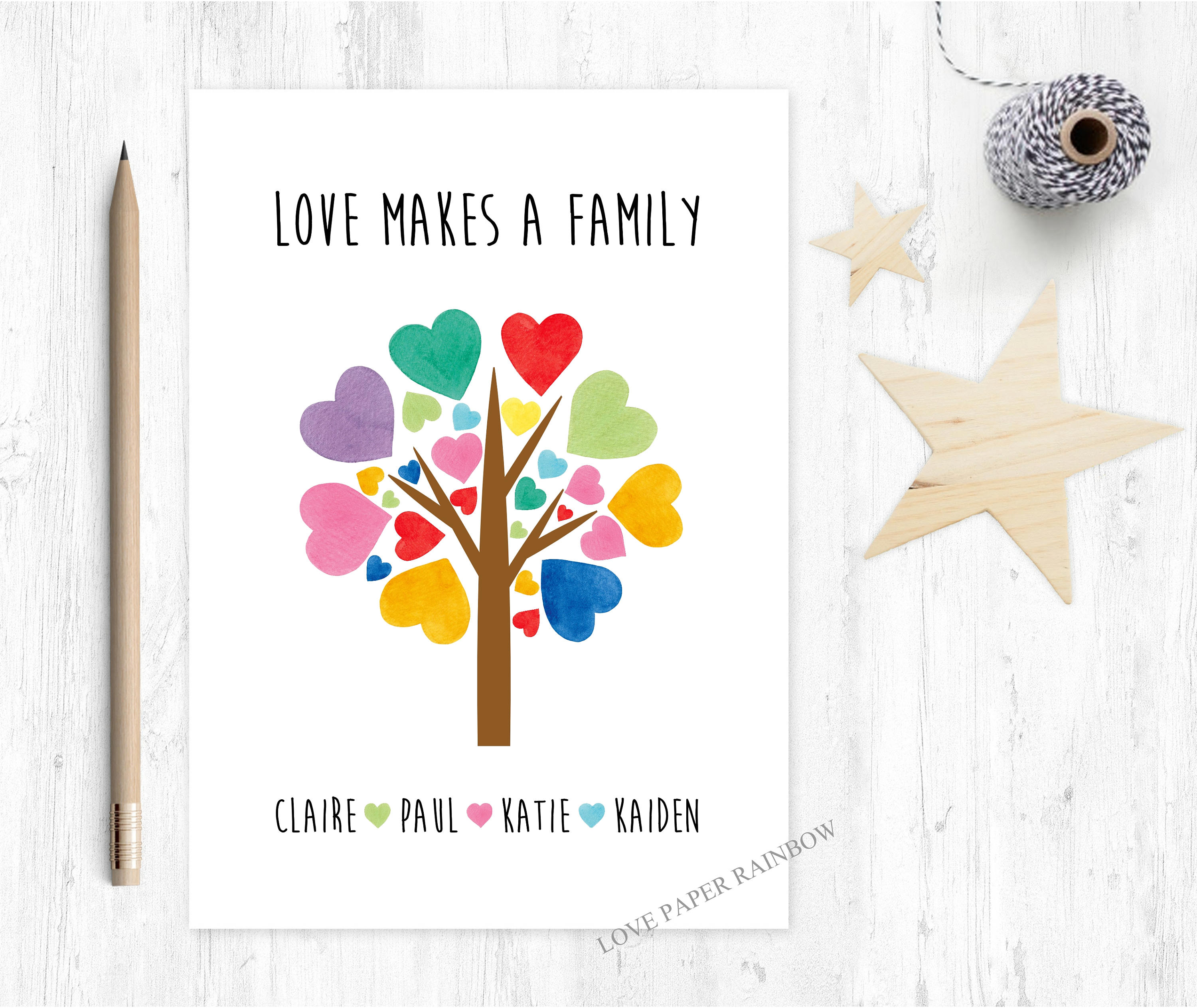 Love Makes A Family Family Card Mothers Day Card Adoption Card
